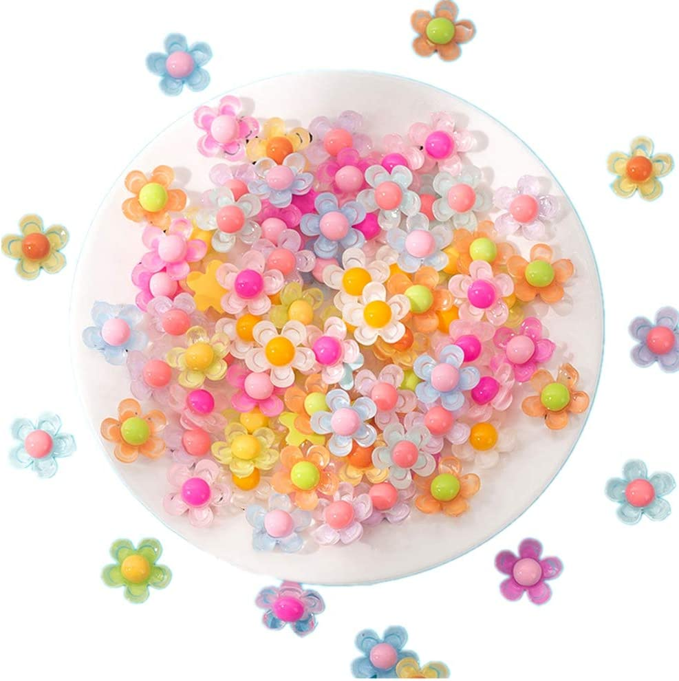 50 Pieces 3//4inch 5 Petals Flower Resin Charms Plastic Cabochons Flatback Beads for Slime Jewelry Making Cardmaking Embellishments Hair Accessories Miniature Dollhouse Accessories