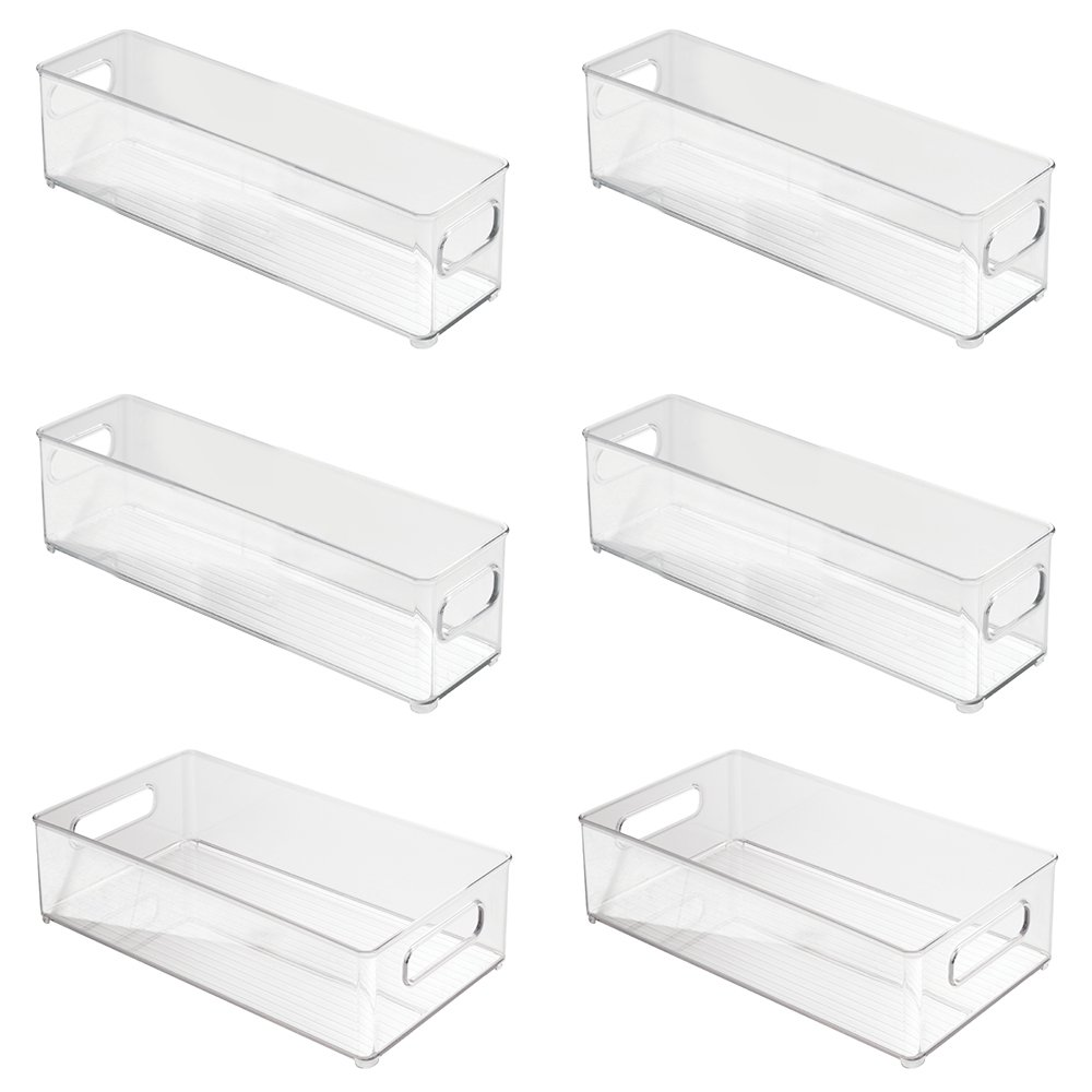 InterDesign Refrigerator and Freezer Storage Organizer Bins for Kitchen - 4 x 4 x 14.5, Clear 70430