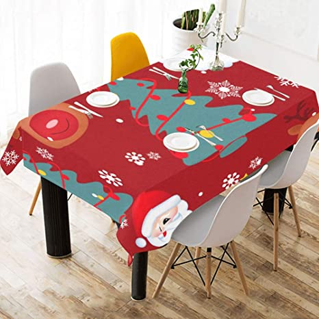 Amazon Com Yngxil Dining Room Table Cover Christmas Cartoon Characters Cotton Print Table Linens Cloth Cover Tablecloth For Kitchen Dining Room Decor 60x84 Inch Table Cloth Outdoor Home Kitchen