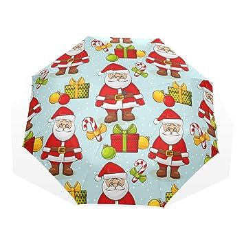 EZIOLY - Paraguas de Viaje de Papá Noel, Ligero, antirayos UV, Paraguas para