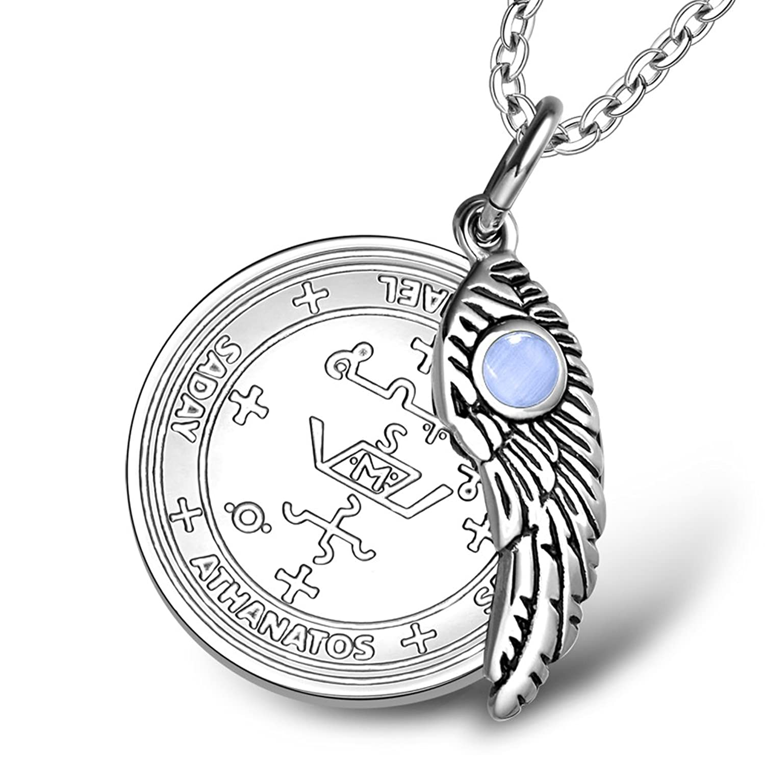Amazon archangel michael sigil amulet magic powers angel wing amazon archangel michael sigil amulet magic powers angel wing charm sky blue simulated cats eye 18 inch necklace jewelry biocorpaavc Images