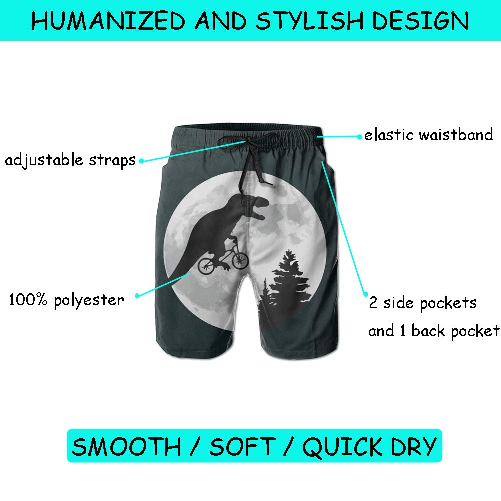 96da753c4c Amazon.com: Dinosaur Bicycle Moon Tree Funny Swim Trunks - Mens & Boys Swim  Shorts, Quick Dry Board Shorts with Pockets: Clothing