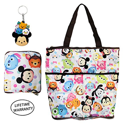 DIYJewelryDepot Foldable Shopping Bags Reusable Extra Large Grocery Bag w/ Zipper + Keychain (Tsum Tsum (Eeyore Character)