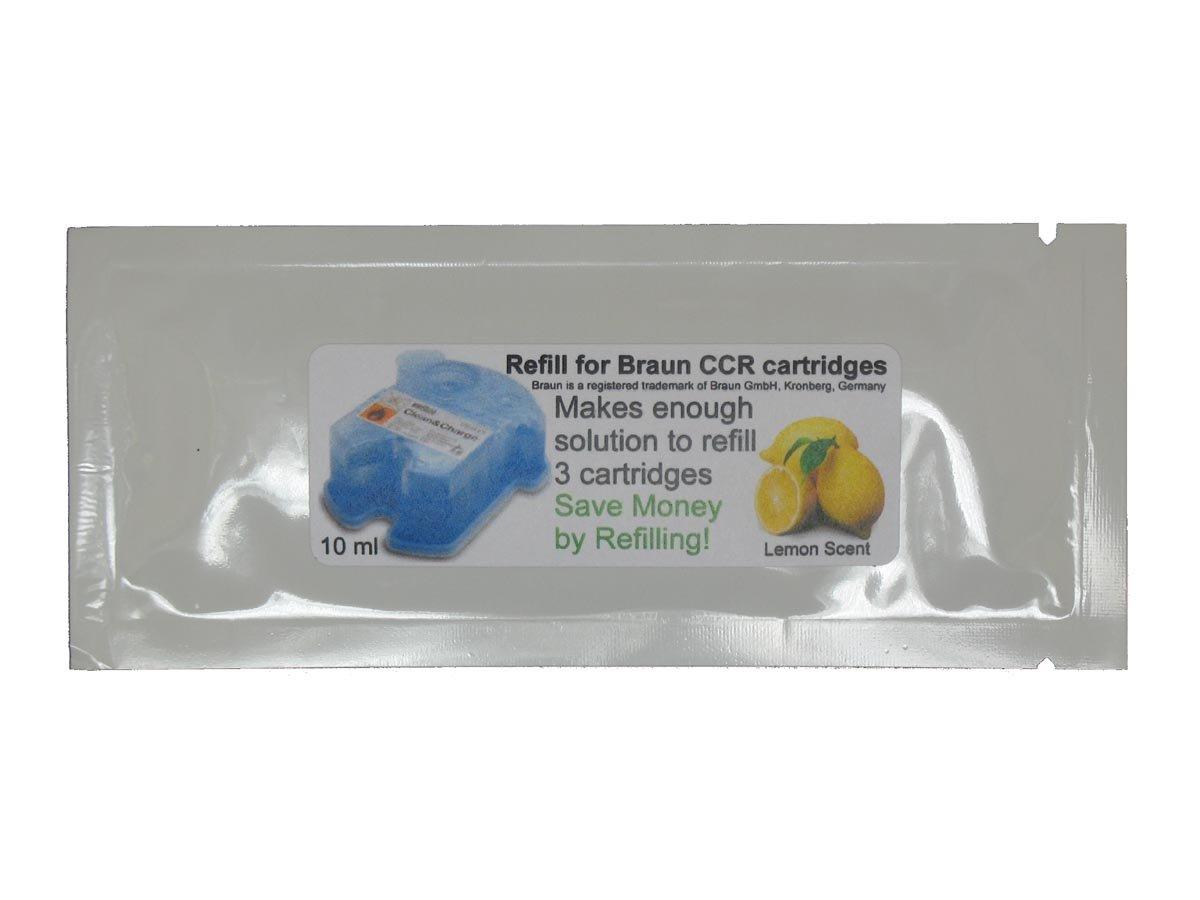 Refill Solution for Braun Clean & Renew CCR3 Shaver Cartridges (Lemon, 2 Packets (6 refills))