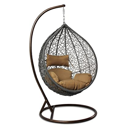 Island Gale Hanging Basket Chair Outdoor Front Porch Furniture With Stand  And Cushion (Grey Wicker