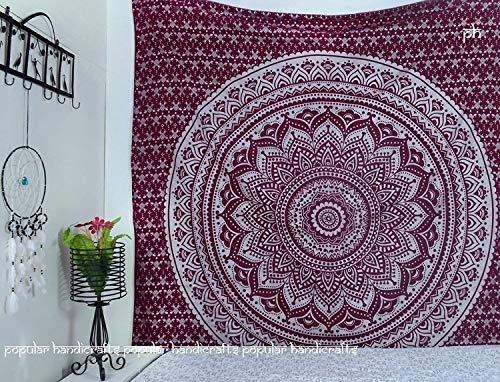Popular Handicrafts New Launched Kp744 Silver Ombre Tapestry Wall Hanging Hippie Mandala Tapestries Wall Art Bohemian Bedspread with Metallic Shine Tapestries 84x90 Inches(215x230cms) Maroon