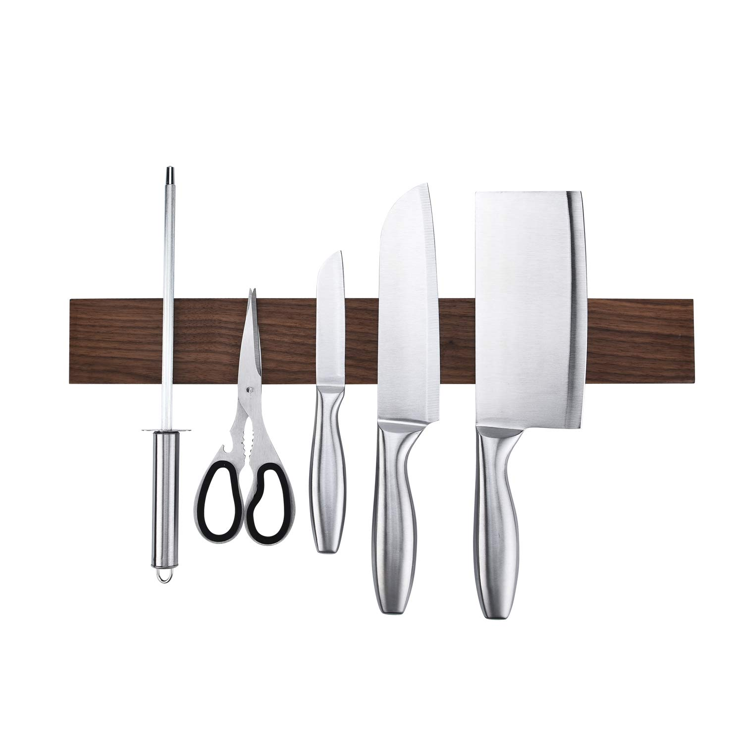 Walnut Magnetic Knife Holder 18 Inch - Wall Mount Wooden Knife Strip, Rack, Bar With Double Row Powerful Magnets, Space-Saving Utensil Organizer by KitchenShark (Image #2)