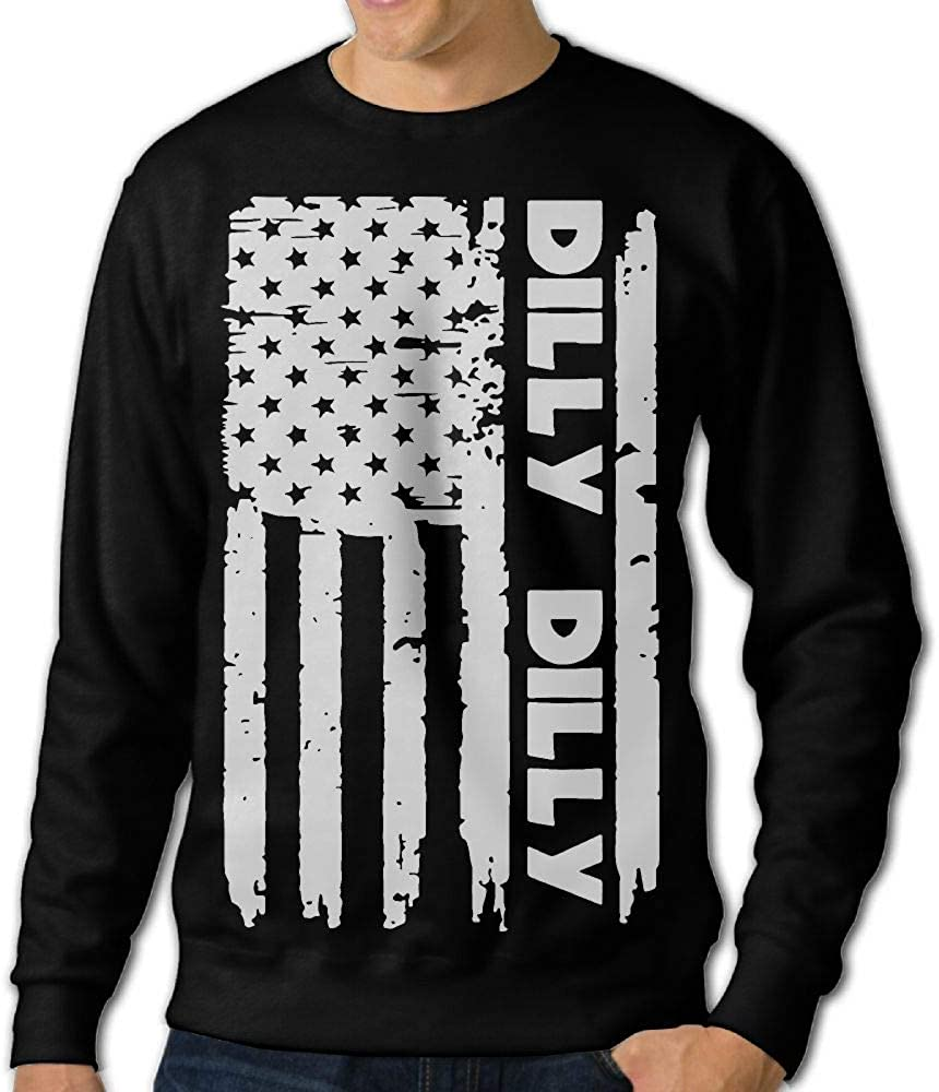 LLiYing-D Dilly Dilly American Flag Adult Mens Casual Long Sleeve Sweater T Shirt