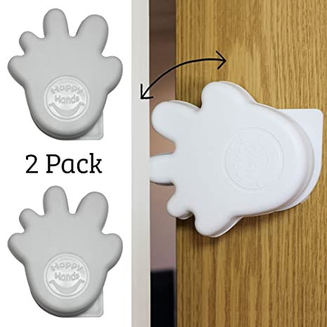 White Happy Hands Anti Slam Child Door Safety Finger Trap Stoppers 2 Pack