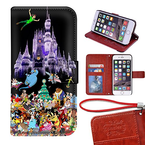 "iPhone 7 plus 5.5"" wallet Case, Onelee - Disney all characters Premium PU Leather Case Wallet Flip Stand Case Cover for iPhone 7 plus with Card Slots"