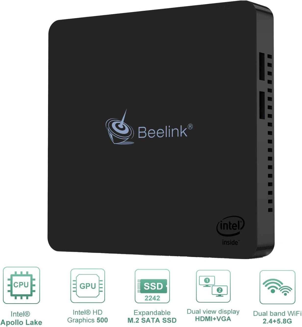 BT4.2 Beelink Mini PC Intel Atom Quad Core CPU(up to 2.24GHz) 4GB RAM//64GB eMMC,Windows 10 BT4 Mini Desktop Computer with HDMI and VGA Port,1000M LAN 4K@30Hz HD,Support Auto Power On