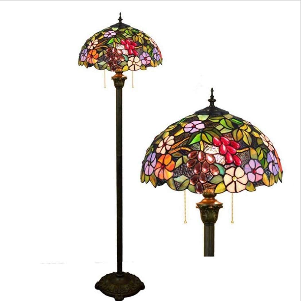 Lámpara de pie de estilo Tiffany, 63 pulgadas de alto, vitral, diseño de frutas, sombra, 2 luces, base antigua para dormitorio, sala de estar, lectura, iluminación, juego de mesa: Amazon.es: Iluminación