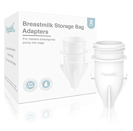 Papablic Breastmilk Storage Bag Adapters for Ameda, Medela Pump into Bags, Compatible for Medela Pump and Save Breastmilk Bag with Holes, 2 Pack