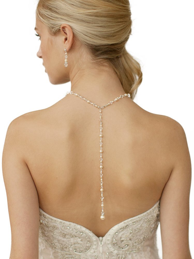 Mariell Ivory Glass Pearl & Crystal Back Drop Necklace for Wedding, Brides and Prom - Handmade in the USA
