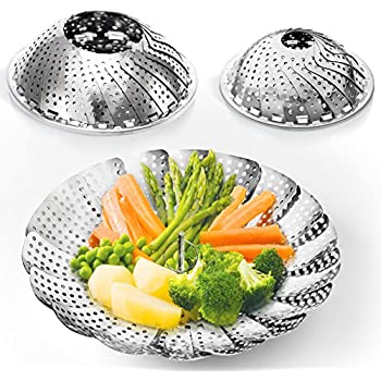 TWO-PACK (Large and Standard) Vegetable Steamer Basket Set - 2x Steamer Inserts for Instant Pot + Safety Tool - 100% Stainless Steel - Instant Pot and Pressure Cooker Accessories