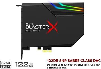Creative - Sound BlasterX AE-5 - Tarjeta de sonido interna para gaming PCIe, DAC clase SABRE/amplificador de auriculares (16-600 Ohm) ncluye una tira LED RGB para su PC (color negro): Creative-Labs: Amazon.es:
