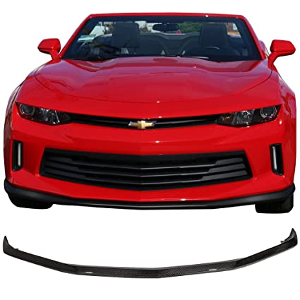 Front Bumper Lip Fits 2016-2018 Chevy Camaro | Factory Style Unpainted Raw  Material Black CF Front Lip Finisher Under Chin Spoiler Add On by IKON