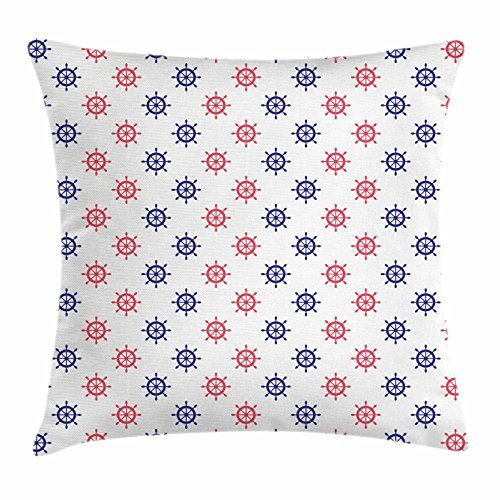 Ship's Wheel Throw Pillow Cushion Cover, Red and Blue Helms with Boating Themed Design Vintage Summer Season Pattern, Decorative Square Accent Pillow Case, 18 X 18 Inches, Navy Blue Red carrotdnrl