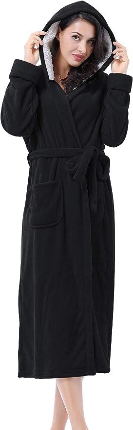 iClosam/Women Fleece Robes Warm Plush Long Bathrobe V-Neck Soft Sleepwear with Two Pockets