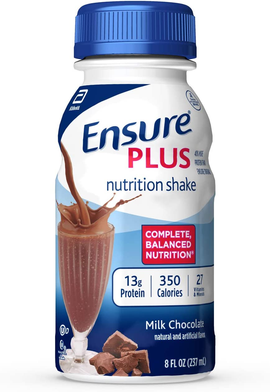 Ensure Plus Nutrition Shake, Milk Chocolate, 8 Ounces, 24 Count