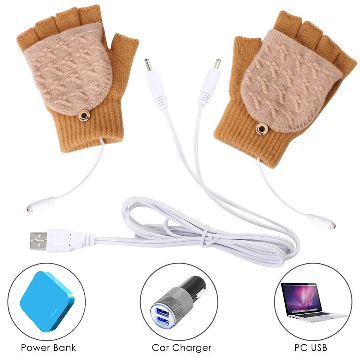 Winter Full /& Half Fingers Warmer Laptop Gloves Mittens for Women Men Girls Boys Petyoung Unisex USB Heated Gloves Best Winter Gift Choice