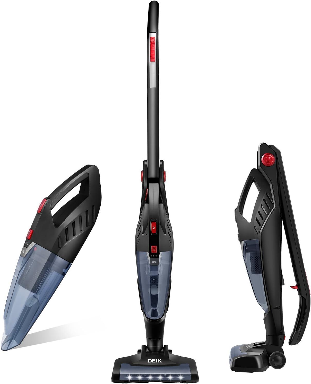DEIK aspiradora, 2 en 1 inalámbrico aspirador, larga duración de alta potencia 22,2 V 2200 mAh Li-ion recargable con batería sin bolsa, y base de carga con vertical aspiradoras de mano: Amazon.es: Hogar