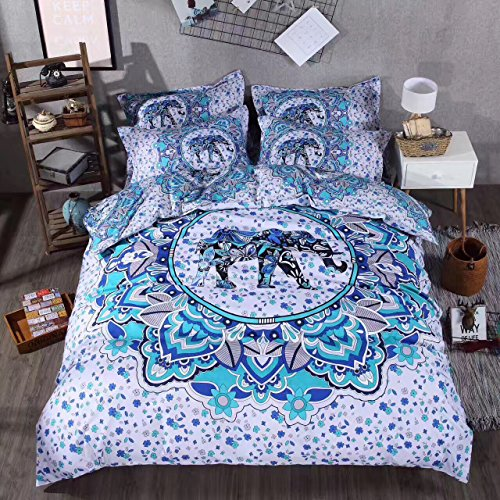 Sandyshow 2PC India Elephant Bedding Twin Bohemia Microfiber Duvet Cover Set, Mandala Design (Twin, - Elephant Design India