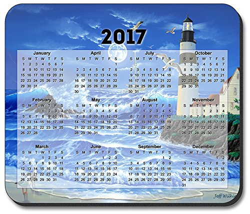 Art Plates brand - Lighthouse at Night Mouse Pad - with 2017 Calendar