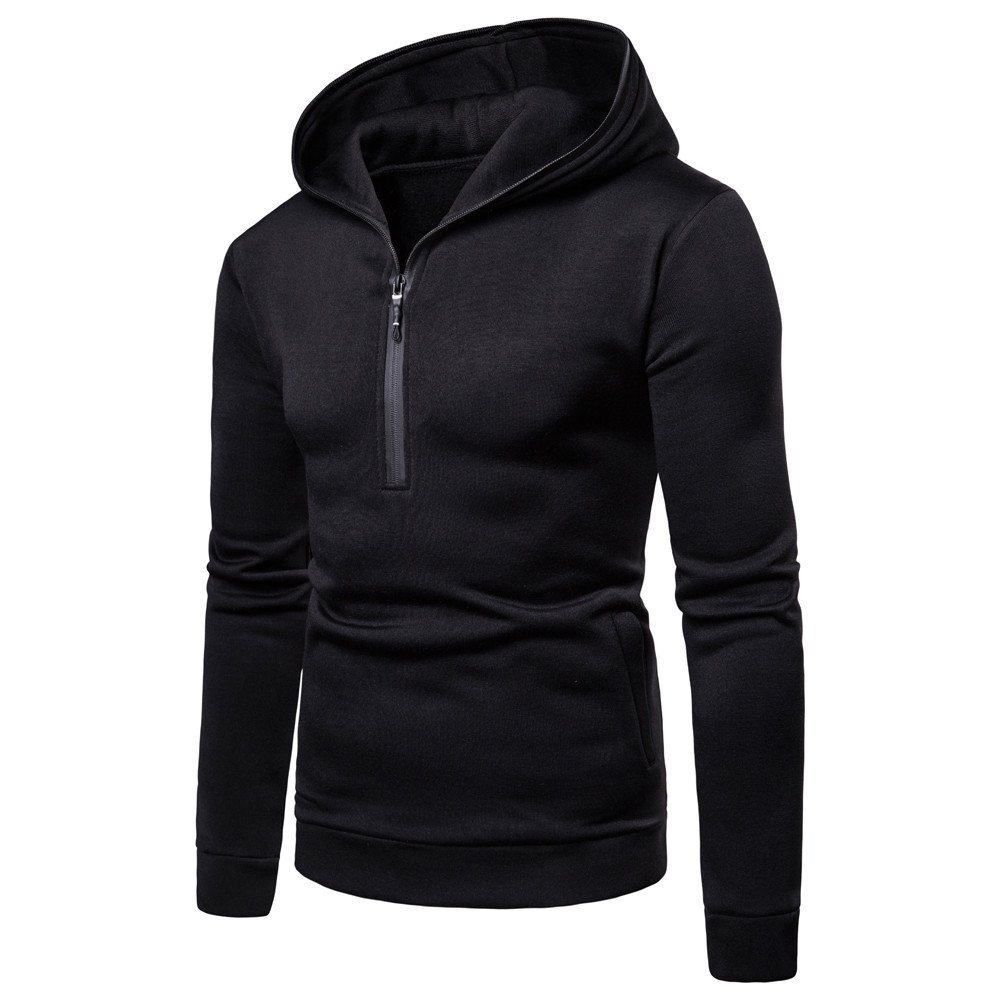 HHei_K Mens Casual Slim Fit Solid Color Long Sleeve Zipper Hooded Pocket Sweatshirt Pullover Tops