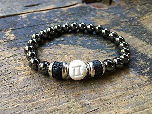 Men Zodiac Gemini Bracelet, Clay | Hematite | Lava Beads, Essential Oil Diffuser, Astrology Jewelry, 9MM Round