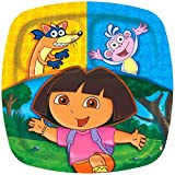 """Amscan Colorful Dora And Friends Birthday Party Divided Paper Plates Birthday Party Disposable Tableware (8 Pack), 9"""", Yellow/Blue"""