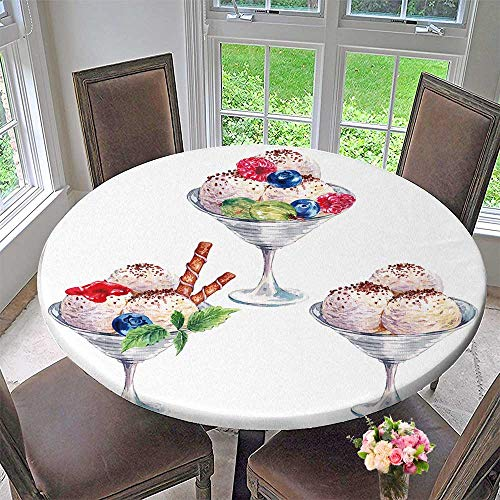 Luxury Round Table Cloth for Home use Ball ice Cream Sundae with Berries jam and Chocolate Summer Food for Buffet Table, Holiday Dinner 50