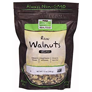 NOW Foods Raw Unsalted Walnuts, 12-Ounce (Pack of 3)