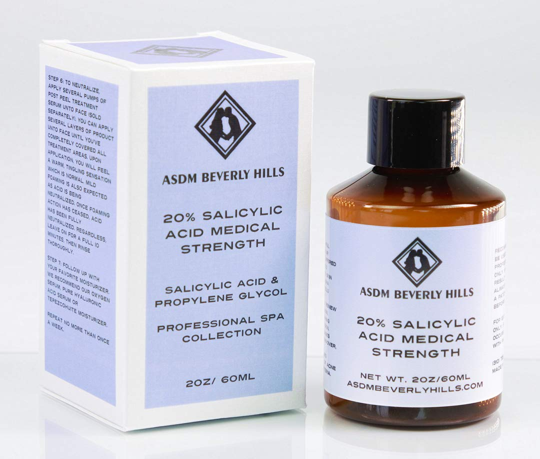 ASDM Beverly Hills 20% Salicylic Acid Peel- 2 Ounce- Anti-Aging Treatment for Acne Scars, Wrinkles, Loose, Oily, and Dry Skin- Removes Corns, Calluses, and Warts on the Hands or Feet