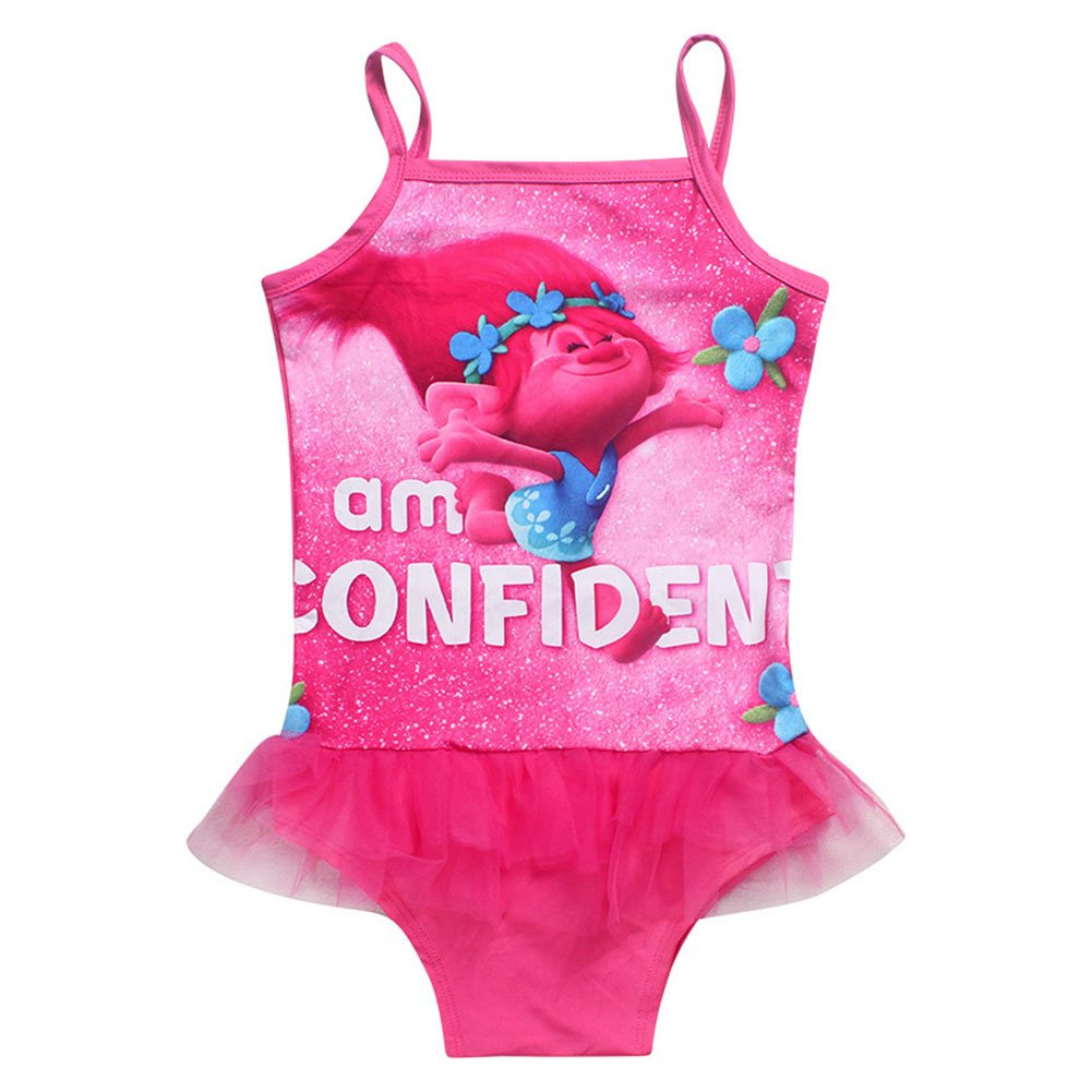 KIDHF Trolls One Piece Summer Swimsuit Girls Princess Swimwear (Red,100/3-4Y)