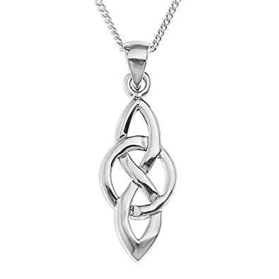 Ornami Ladies Celtic Knot and Circle Pendant with 46 cm Silver Curb Chain 5BD6o