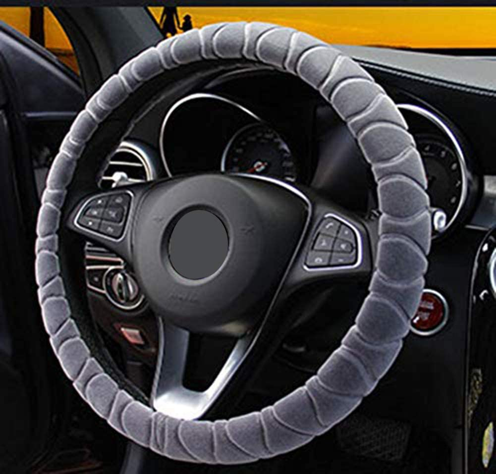 Steering Wheel Cover Faux Fur Winter Warm Steering Wheel Wrap Fits Most Car 38cm Interior Accessories Gray