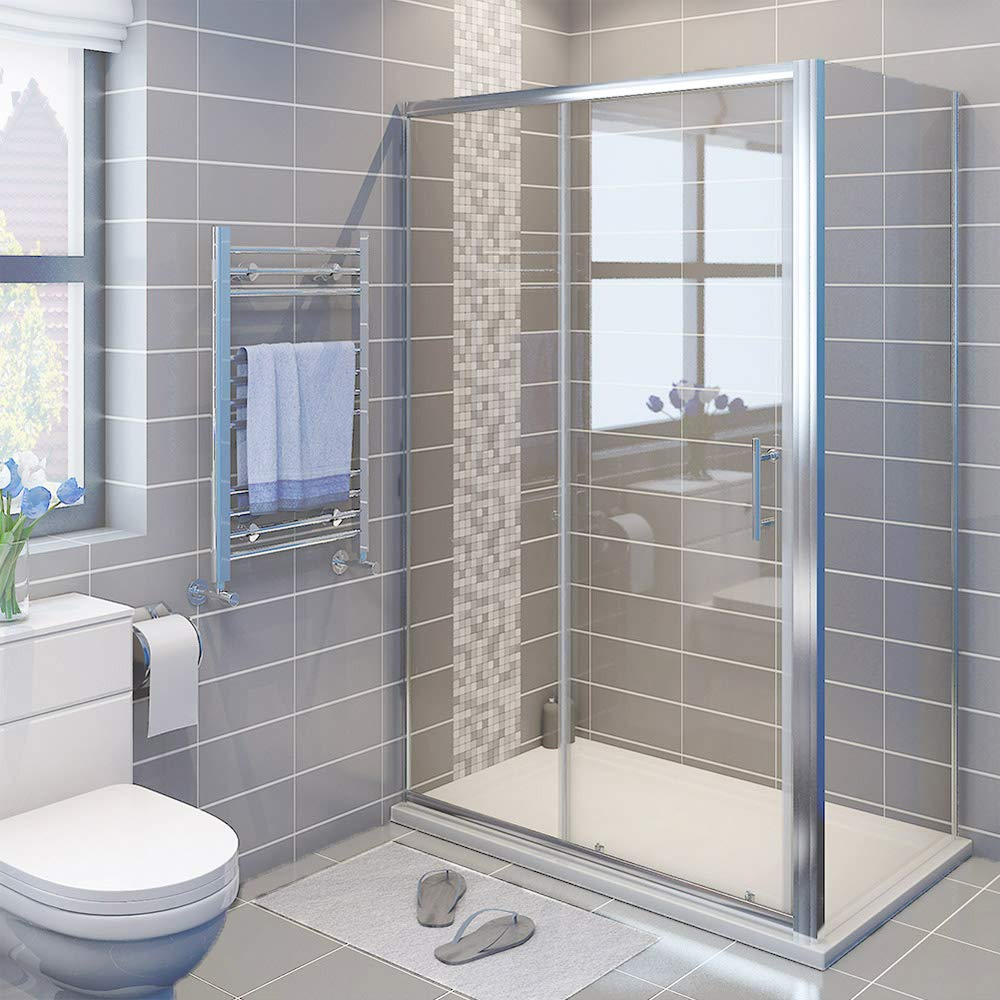 ELEGANT 1000 x 700 mm Sliding Shower Enclosure Cubicle with Tray and ...