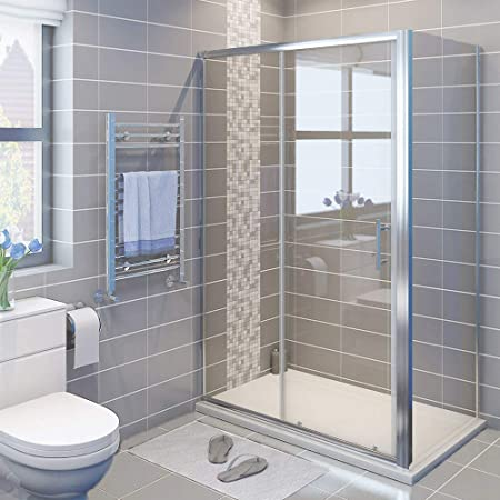 1000 x 700 mm sliding shower enclosure cubicle with tray and waste