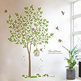Zooarts - Adhesivo de quita y pon para pared, diseño de árbol, pájaros y jaula, vinilo