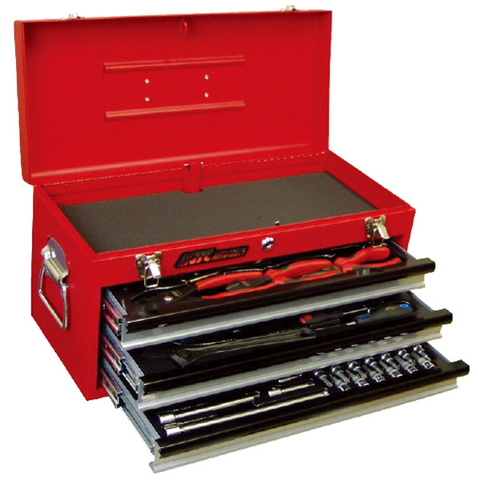 JTC 工具セット ハンドツール 工具箱 トップチェスト 3段引き出し ベアリングレール 鍵付 梨地塗装 64PCS工具セット JTCB065SET B00PABZXQK