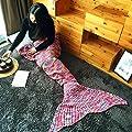 Mermaid Tail Blanket Crochet and Handmade Living Room All Seasons Sleeping Bags for Adults, Super Soft