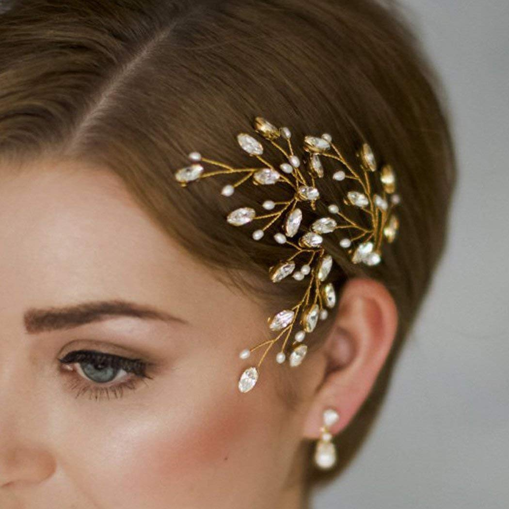 Simsly Wedding Hair Pins Decorative Headpiece Rhinestones Bridal Hair Accessories with Bead for Bride and Bridesmaid (Gold)