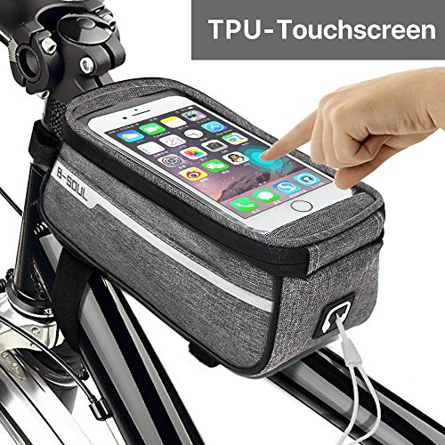 Sporcis Bicycle Bag, Bike Handlebar Bag TPU Sensitive Touch Screen Bike Frame Bag Cycling Front Tube bag Mobile Phone Holder for any Smartphones Below 6.0 Inch, 1L (Gray) by Sporcis
