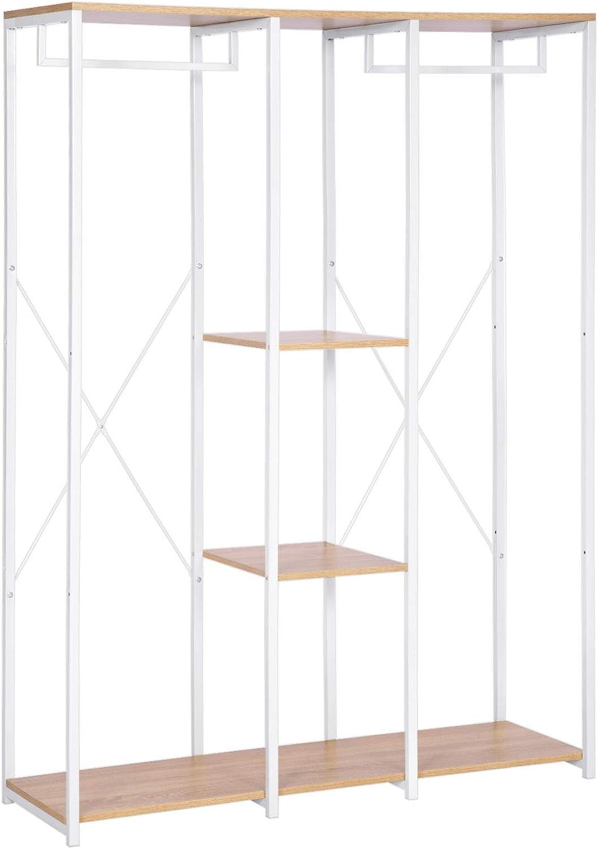 WOLTU SR0048whe Stand Appendiabiti con Ripiani Attaccapanni Guardaroba Armadio Scaffale Porta Abiti in Legno Acciaio 120x40x167 cm