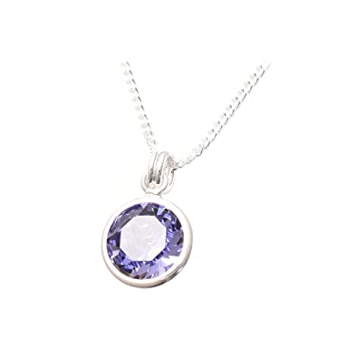 pewterhooter 925 Sterling Silver pendant and chain made with Tanzanite crystal from SWAROVSKI® for WOMEN hkLcLmPB