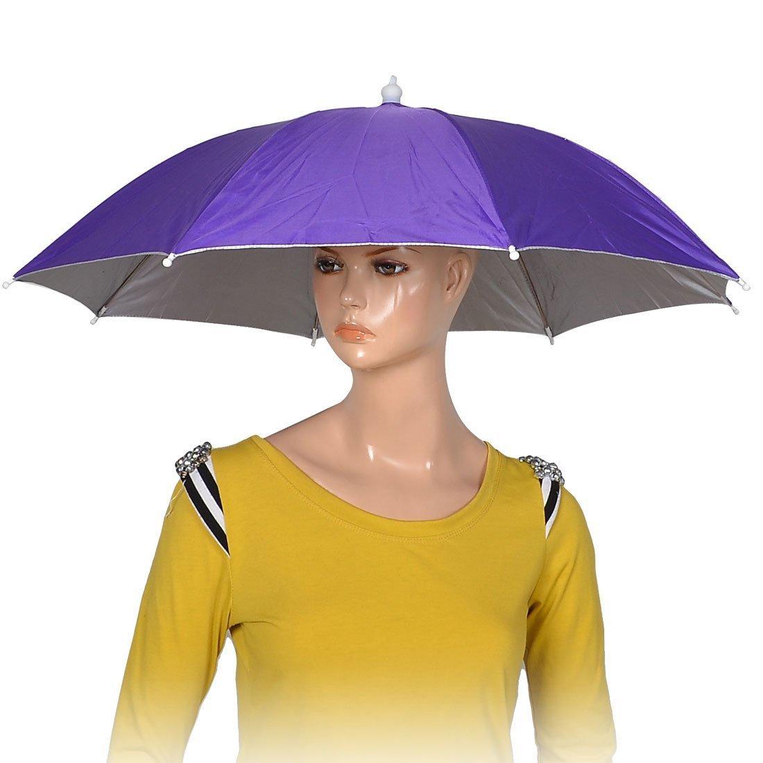 Púrpura 8 costillas de pesca poliéster sombrero paraguas sombrero de lluvia del sol: Amazon.es: Deportes y aire libre