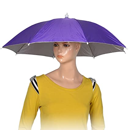 ff952f44df0 Image Unavailable. Image not available for. Color  uxcell Purple Polyester  8 Ribs Fishing Sun Rain Headwear Umbrella Hat Cap