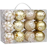 "Sea Team 70mm/2.76"" Delicate Floral Theme Painting & Glittering Christmas Tree Pendants Shatterproof Hanging Christmas Ball Ornaments Set - 24 Pieces (Gold)"