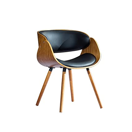Walnut Bent Plywood Arm Chair With Black Pu Cushion